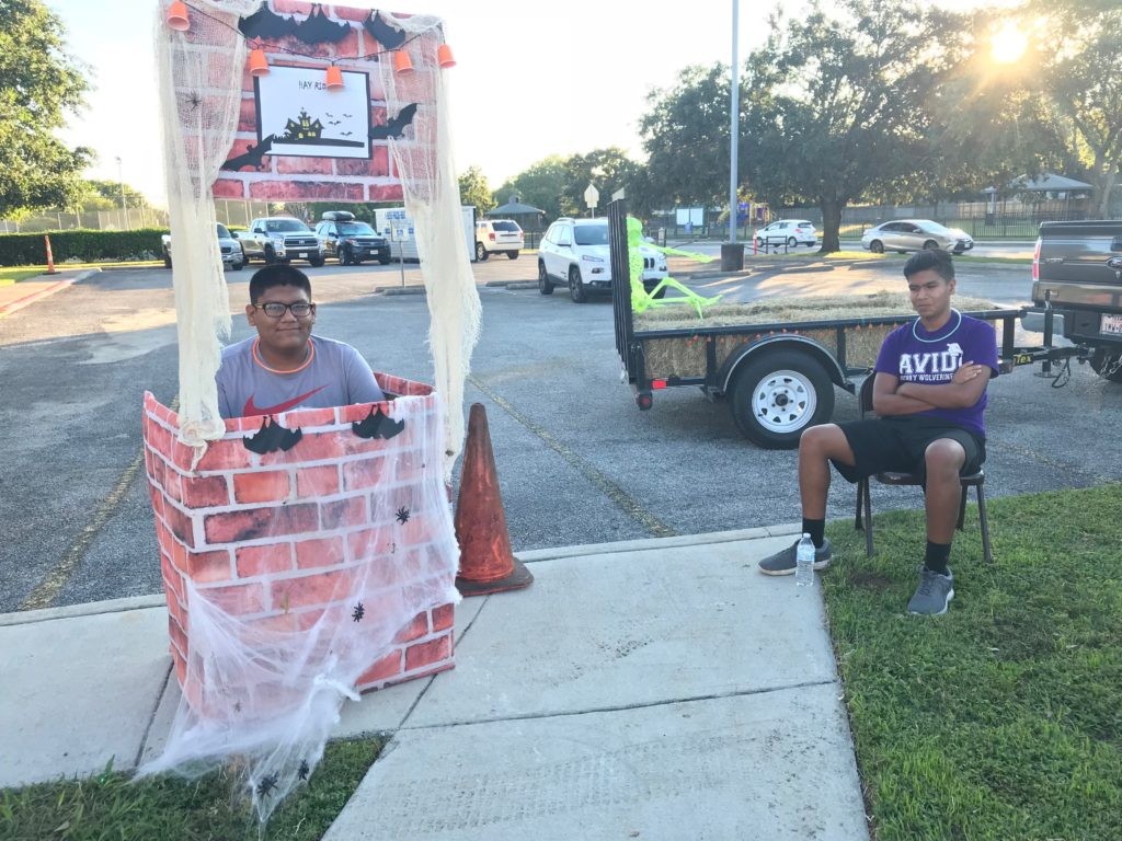 Hay ride volunteer brothers