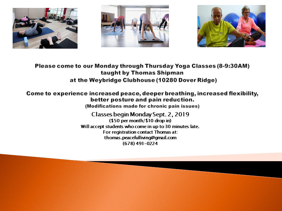 Yoga class Fall 2019 flier