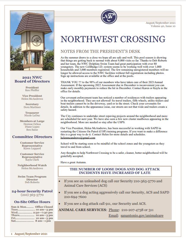 Aug-Sept 2021 Newsletter Front